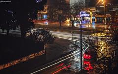 Rainy winter night (GaboUruguay) Tags: street city winter light reflection luz colors car rain night uruguay lights noche lluvia colorful rainy coche esquina reflejo semaforo montevideo raining brillante invernal