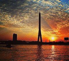 Worlds largest asymmetric cable bridge in Bangkok. Looking spectacular at any time of the day... #bridge #sunset #thailand #bangkok #vividcolors #asiatravel #bridges_aroundtheworld #river #photoftheday #instadaily #instamood #worldcaptures #photographylov (carr.elissa) Tags: instagramapp square squareformat iphoneography uploaded:by=instagram mayfair