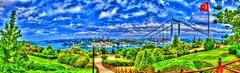 Panoramic HDR (Halil Sopaolu HN I Photography) Tags: halil2016 tree cloud blue sky otatepe flag bridge visit turkey istanbul bosphorus landscape panorama hdr