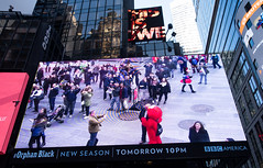 You Are Being Watched (UrbanphotoZ) Tags: plaza nyc newyorkcity windows ny newyork reflection video manhattan elmo crowd billboard lookingup midtown bbc timessquare pedestrians westside minniemouse captainamerica reuters manholes youarebeingwatched newseason orphanblack tomorrow10pm