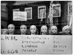 Teichoskopie (mniesemann) Tags: street leica photography fenster schaufenster m hut schwarzweiss schrift geschft puppen reflektionen kpfe knigslutter 500px ifttt