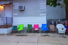 have a seat? (lucymagoo_images) Tags: street new color colors orleans different chairs empty sony sidewalk seats seating multicolored variation multicolor rx100