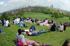 May Day Primrose Hill (Dun.can) Tags: city panorama london sunshine landscape spring nikon view stpauls fisheye bttower mayday canarywharf primrosehill shard gherkin orbit walkietalkie nw1 cheesegrater d5100