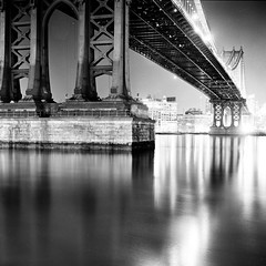 The Manhattan Bridge (Adam Garelick) Tags: city nyc newyorkcity blackandwhite 120 6x6 film monochrome architecture night mediumformat spring manhattan hasselblad manhattanbridge 100 fujineopanacros 2013 ilfordilfosol3 252m10