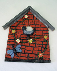 bird house-red brick (playsculptlive) Tags: sun garden polymerclay pcagoe may62013