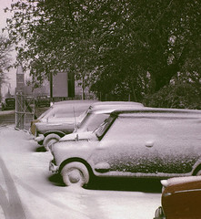 1960's Snow Fall (colinfpickett) Tags: winter white snow cold cars beauty car mini chilly daysgone