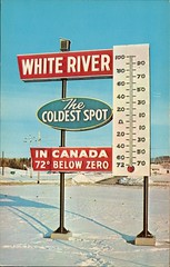 """Canada' Coldest Spot"", Bagdon's Esso Service Station, White River ON (SwellMap) Tags: road signs monument public sign vintage advertising design 60s highway gate arch fifties message postcard suburbia entrance style kitsch retro billboard route nostalgia chrome freeway gateway billboards americana 50s lettering welcome roadside populuxe sixties babyboomer consumer coldwar midcentury spaceage atomicage archwaypc"