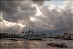 R06 HMS Illustrious (PaulHP) Tags: sun storm london rain thames clouds river anniversary greenwich navy royal battle atlantic boa rays 70th illustrious rn hms r06