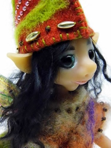 "Ooak Handmade Polymer Clay Woodland Rose Hip Fairy ""Rowan"""