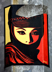 Shepard Fairey Sticker Found In Lower Manhattan (Allan Ludwig) Tags: sticker shepardfairey lowermanhattan