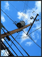 tangled up in blue (stansvisions) Tags: blue light sky black colors electric catchycolors fun outdoors funny shiny bluesky wires electricity tangledupinblue odc2 stansvisions ourdailychallengegroup2