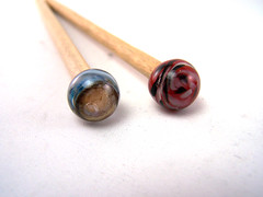 Hair Sticks Custom Order (AutEvDesigns) Tags: red brown poplar natural lampwork skyblue hairsticks
