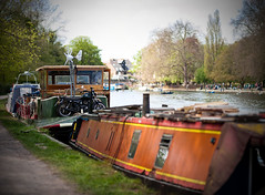 May Day in Oxford (4) (lorenzaccio*) Tags: uk england thames river dof houseboat depthoffield motorbike oxford panorma lorenzaccio vertorama