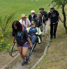 OK - We're off... (PowellRiverMobilityOpportunitiesSociety) Tags: family friends nature sunshine river coast back teams walks country trails together powell society mobility opportunities disability accessibility friendships trailrider