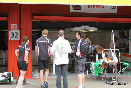Paul Di Resta's Force India pit garage at the 2013 Spanish Grand Prix