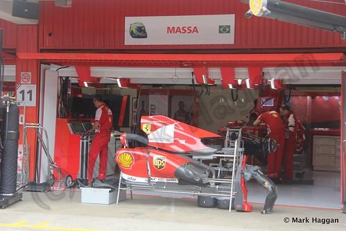 Felipe Massa's Ferrari pit garage at the 2013 Spanish Grand Prix
