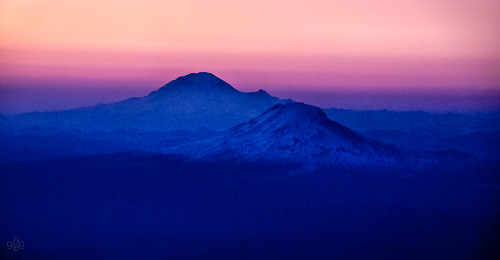 Mt Adams and Rainier from 20,000 feet in dusk