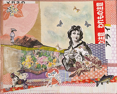 Japan (itsme design) Tags: original newyork schilder sport collage japan lady illustration neon assemblage kunst retro frau diva vogel fliegen maskingtape kopf kleben schwarzweis