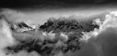 Le Brévent View II (McSnowHammer) Tags: winter bw snow france mountains alps cold clouds ir view valley infrared peaks chamonix