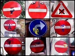 street art Bruges - Clet Abraham (_Kriebel_) Tags: street streetart art sign altered graffiti traffic belgium brugge belgi bruges urbain kriebel cletabraham