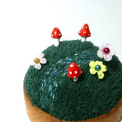 Fairy garden pincushion - Deep Forest Large (raycious) Tags: wood red flower cute green mushroom forest woodland garden miniature wooden magic rustic waldorf decoration australia mini brisbane fairy earthy fantasy fungus kawaii toadstool pincushion etsy recycle decor magical turning polkadot woodcraft woodturning minitual
