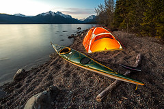 Paddling Dreams (Mark Payton Photography) Tags: sunset montana kayak paddle tent shore seakayak glaciernationalpark pintail dometent lakemcdonald mountainhardware markpayton ev3 valleypintail illuminatedtent markpaytonphotography