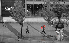 Big Step (Gareth Priest) Tags: life street city uk trees portrait people urban bw inspiration reflection art public rain weather wales umbrella walking spring nikon experimental candid capital creative cardiff innercity selectivecolour streetportait d5100