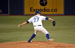 Cecil delivers the pitch. (james_in_to) Tags: mlb sanfranciscogiants torontobluejays rogerscentre
