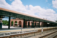 Seaboard Air Line Train Station Deerfield Beach (Phillip Pessar) Tags: railroad film beach analog train 35mm freedom fuji minolta rail places historic national 200 deerfield register dual cvs c41