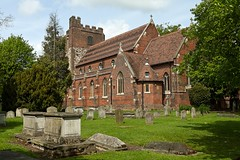 St Mary's Churchyard (dorrisd) Tags: county uk trees red england building brick tower church grass buildings bomen travels raw mary kirche crosses headstones graves norman chiesa gb gras churchyard rood flint essex glise bloodymary kerk colchester tombs engeland kyrka redbrick begraafplaats reizen graafschap graven tombes baksteen kruisen canon24105mm vuursteen zerken pe11 dorrisd canoneos5od stmaryatthewalls rodebaksteen lightroom36 mienekeandewegvanrijn