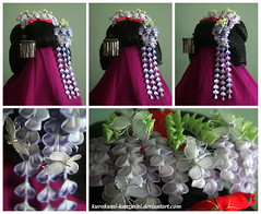 Niwasaki Maiko Kanzashi Set (Kurokami) Tags: flowers ladies girls woman toronto ontario canada flower floral girl set lady butterfly hair women fuji blossom traditional blossoms chou maiko geiko ornament ornaments geisha kimono folded wisteria tsumami kanzashi kistuke