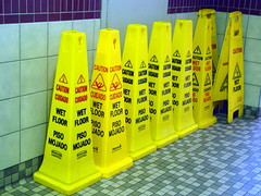 Caution Wet Floor. (dccradio) Tags: indiana reststop cleaning oasis pylons foodcourt restarea interstate80 interstate90 cautionsign janitorialsupply