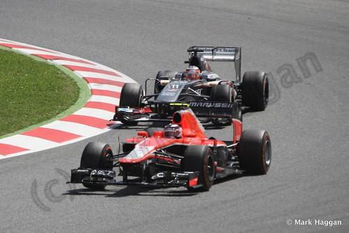Max Chilton in Nico Hulkenberg in the 2013 Spanish Grand Prix