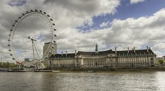 London Eye & County Hall HDR (MyWorldMyCamera1) Tags: uk greatbritain vacation england sky holiday building london tower english water wheel architecture clouds lens high pod nikon europe unitedkingdom steps londoneye landmark tourist historic gb destination nikkor popular riverthames f28 hdr highdynamicrange height attraction countyhall londonaquarium d800 2470mm