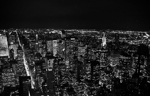 Manhattan nightscape in mono