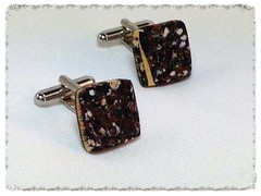 Square granite effect cufflinks