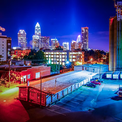 Charlotte City Skyline night scene (DigiDreamGrafix.com) Tags: city sunset urban mill skyline modern buildings lights nc cosmopolitan neon factory skyscrapers charlotte dusk south towers northcarolina business national convention metropolis southeast republican dnc charlottenc banks offices 2012 illuminate finance democraticnationalconvention milling 21stcentury boomtown