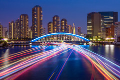 Rainbows on the Water (45tmr) Tags: city longexposure nightphotography bridge japan night river landscape tokyo cityscape nightscape nightshot pentax 東京 lighttrails nightview 夜景 sumidagawa k5 archbridge sumidariver 隅田川 光跡 薄暮 pentaxk5