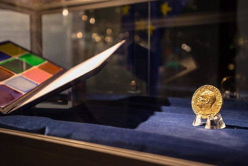 The Nobel medal and certificate on display