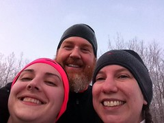 Winter Running (adrienna) Tags: adri aaron running kristin towpath