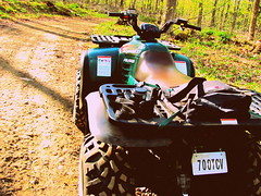 The ATV I drive :D (*Abstrax) Tags: county usa brown green nature colors wisconsin forest four spring woods country trails earthy atv wheeling langlade