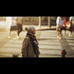 Gaze (In my entirety) Tags: street old woman lady canon eos afternoon mark ii l 5d f2 usm cinematic gaze 135mm