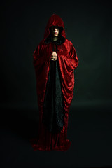 Day 2296 (evaxebra) Tags: red woman black scary gothic goth velvet cape hood 365 crushed 365days evaxebra
