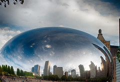 Spring Day Bean - May 15, 2013 (Flipped Out) Tags: chicago millenniumpark cloudgate thebean anishkapoor attplaza