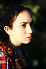 Soft Focus (kaitlynslocombe) Tags: portrait green girl sunshine pale softfocus plaid headband plait