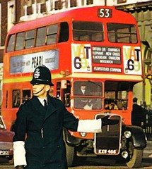 London Post card 1960's . LT RT1367 (Cropped) (Ledlon89) Tags: bus london postcard transport 1960s lt policeman saunders londonbus aec metpolice rtbus alltypesoftransport