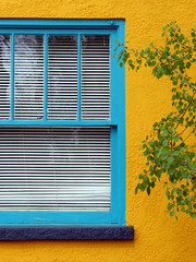 that house on kimbark (oldogs) Tags: blue green window lines yellow longmont angles blinds