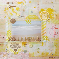 la mer (mariabi74) Tags: yellow scrapbooking layout handmade cork lo scrap gelatos studiocalico pinkpaislee misterhueys