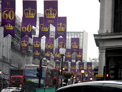 Celebrating queens 60 years coronation banners purple gold Regent Street London England 15th June 2013 republic 15-06-2013 17-33-55 (dennoir) Tags: