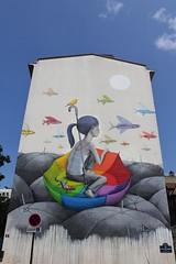 Seth_8012 rue Emile Deslandres Paris 13 (meuh1246) Tags: streetart paris seth animaux poisson enfant oiseau parapluie paris13 salamandre lzartsdelabivre2013 rueemiledeslandres